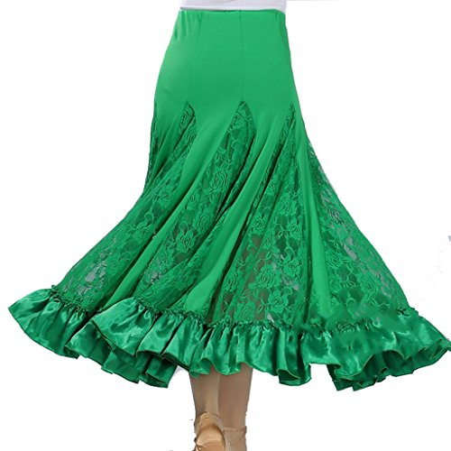 Byjia Damen Rock Langes Swing Kleid Modern Waltz Tango Lace Röcke Standard Ballroom Party Dance Wettbewerb . Green . F (Kleid Länge Waltz)