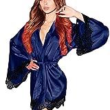 Kimono Yazidan Frau Seide Dressing Puppe Spitze Sexy Unterwäsche Bademantel Nachtwäsche Tiefer V-Ausschnitt Kleid Seidig Satin Chemise Nighties Elegant Einfarbig Schlaf-Kleid Übergröße(Blau,3XL)