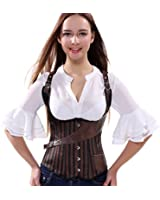 Stay Corset Brown Steampunk Waistcoat Style Underbust Spiral Steel Boned Bustier Costume
