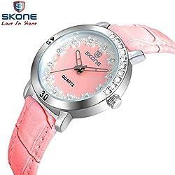 Watch Women Fashion Casual quartz watches brand SKONE Flowers dial waterproof ladies Popular wristwatch relojes mujer clock 9214