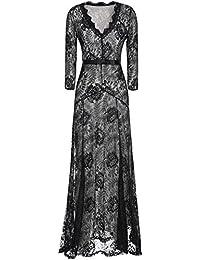 U-shot Mujer V Cuello Floral Encaje Vintage Elegante Vestido de Noche Largo Vestidos