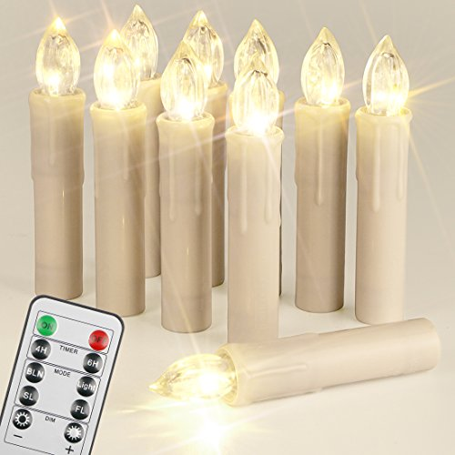 10 LED Kerzen Spitzkerzen, dimmbar mit Fernbedienung und Timer, 4 Modi der Beleuchtung für Weihnachten Hochzeiten Party, Wasserdicht IP64 im Freien oder in geschlossenen Räumen, für Baum