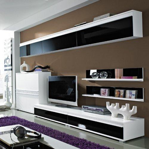 Wohnwand Set FREESTYLE131 Glasfront schwarz, weiß