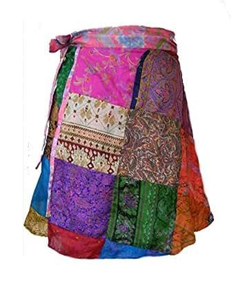 Jupe patchwork de soie de sari flottante courte - Fair Trade