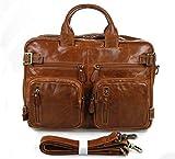 Everdoss Herren echt Leder Businesstasche groß Multifunktion Tasche Schultertasche Messenger Bag Rucksack braun