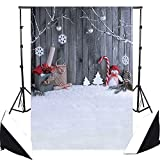 DODOING 5x7FT White Winter Snow Photographic Background Photo Backdrops Christmas Snowman Tree Wooden Wall Newborn Children Photo Studio Photocall Backdrop for Photography