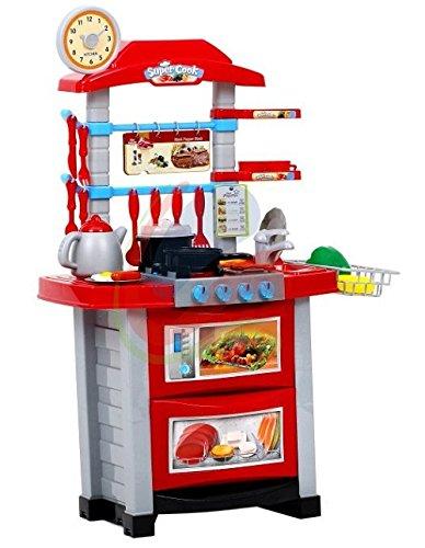 Preisvergleich Produktbild Kinderküche - Moderne Küche mit Licht, Ton, Wasserkocher und viel Zubehör, Meine erste Küche, Spielküche, Küche, Mini Kitchen - ROT