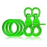 Ganzoo 3 x O - Ring aus Stahl und 2 x Scheren-Karabiner-Haken mit Dreh-Gelenk/Dreh-Kopf im Set, DIY Hunde-Leine/Hunde-Halsband, nichtrostend, Ideal mit Paracord 550, Farbe: grün