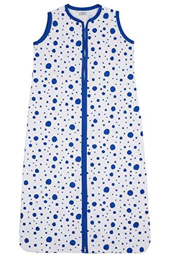 Meyco 412934 Sommer Schlafsack 110cm ungefüttert 100{d0ccba279e0f219abcb72d6b0043abd5ae674236bfbbd9f1f87494b26d4bdc1d} Baumwolle 12-36 Monate DOTS motiv Bright Blue-Weiß, mehrfarbig