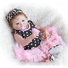 Decdeal - Reborn Muñeca Bebé Niña de Silicona con Ropa, 22 Pulgadas 55cm (Permitida
