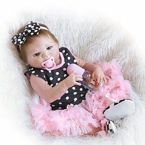 Decdeal - Reborn Muñeca Bebé Niña de Silicona con Ropa, 22 Pulgadas 55cm (Permitida Ducha)