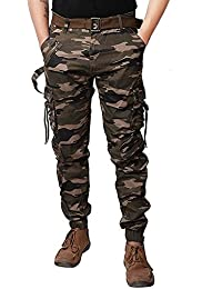 8e12c32b SmartLifestyle Army Men's Cotton Cargo Pants Camouflage Camo Military Long  Trousers with Belt