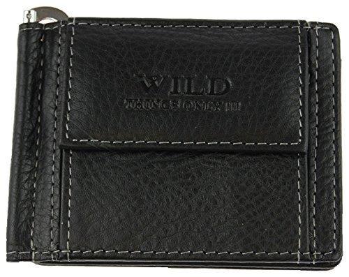 Geldbörse Portemonnaie für Herren (5516) Echt Leder in schwarz (165) mit Geldklammer ca. 10,5 x 8 x 1,5 cm