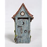 Miniature World MW02-001 Out House in Blue Resin Ornament