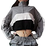 OYSOHE Sweatshirt Damen Langarm Pullover Bluse Reißverschluss Crop Tops Patchwork Shirt