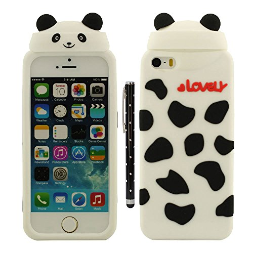 iPhone 5 5S Coque de Protection, Animal Forme Conception Serie Diverses couleurs Cartoon Style Doux Silicone Housse de Protection Case pour Apple iPhone 5 SE 5S 5G avec 1 stylet - Ours blanc