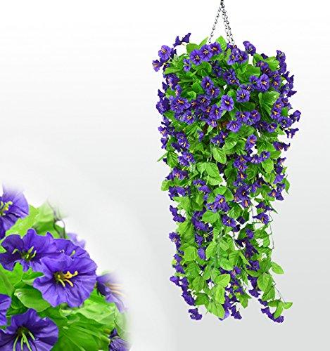 SCLOTHS Künstliche Blumen Wohnaccessoires Wand montiert Niou HUA Decke Flansch Weinstock Zwei Balken Blau