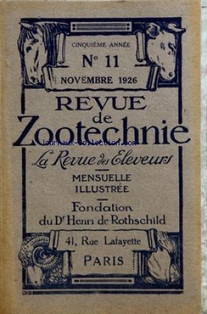 REVUE DE ZOOTECHNIE (LA) [No 11] du 01/11/1926