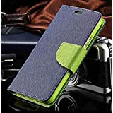 JARVIS™ Stylish Mercury Fancy Diary Wallet with Magnetic Lock & Card Slots Flip Case Cover for Xiaomi Redmi Mi A1 - (Blue)