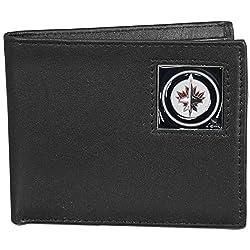 NHL Winnipeg Jets Leather Bi-Fold Wallet Packaged in Gift Box, Black