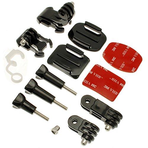 Optix Pro 13 in 1 Fassen Tasche Zubehör Pack Gebogene Klebende 3M Schrauben J-Haken Verbindung für Action-Kameras einschließlich GoPro Fusion, Hero6 Black, 5 Black & Session, 4, 3+, 3, 2, 1, Session (Accessory Garmin Pack)