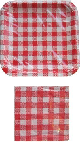 Rouge et Blanc à Carreaux Pique-Nique Assiettes et Serviettes en Papier Lot de