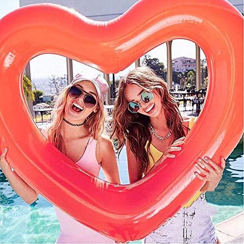 SanXingRui Aufblasbarer Schwimmring, Luftmatratze Schwimmreifen Sommerliches Wasserspielzeug Aufblasbar Schwimmring für Erwachsene Kinder Herzform Schwimmring (Rot-D)