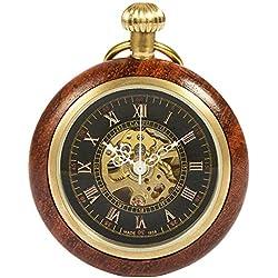 Reloj de Bolsillo con Cadena - mecánico manchda Mens Imitacion Madera Luminoso Skeleton Dial + Caja de Regalo (2.HBH091)