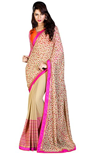 Cream Georgette and Jacquard Sarees With Blouse
