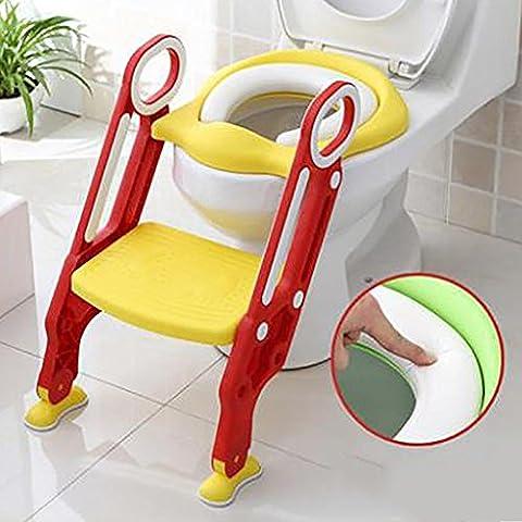 HTTMYY Kinder Toilette Toilettenleiter Faltbar Ausbildungssitz Rutschfest TöPfchen Stuhl Vielseitig Weich Auflage , C