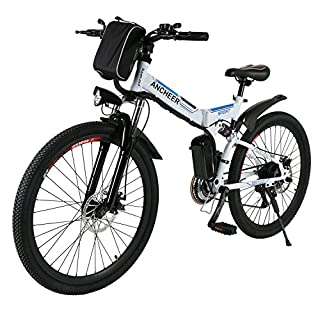 ANCHEER Electic Mountain Bike, 26 inch Folding E-bike, 36V 250W Large Capacity Lithium-Ion Battery and Battery Charger, Premium Full Suspension and Shimano Gear (Schwarz) (Black) (White)