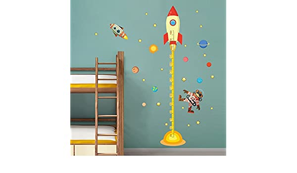 Dragon Honor Removable Living Room Bedroom Wall Sticker Height Chart Decals Space Rocket