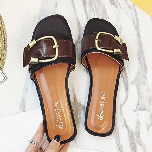 Damen Casual Haus Strand Hausschuhe, Kaiki Damen Sommer Schuhe Peeptoe Low  Schuhe Römische Sandalen Damen Flip Flops Brown