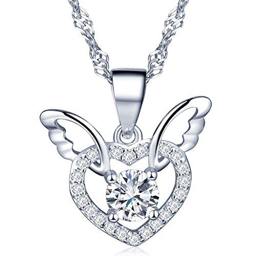 Unendlich U Fashion Charme 925 Sterling Silber Damen Halskette Engel Flügel Herz Zirkonia Anhänger Kettenanhänger, Silber