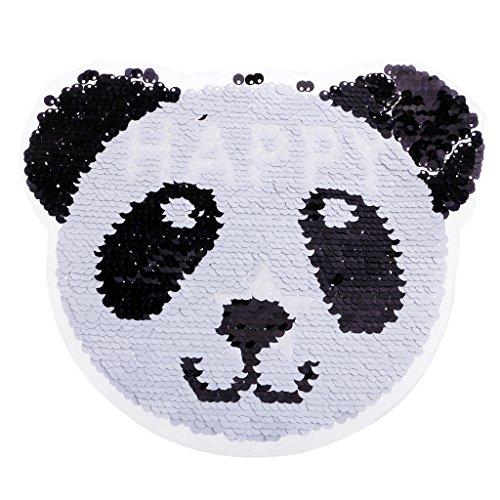 D DOLITY Pailletten Stickerei Panda Patches Patch Aufnäher Retro Sticker Abzeichen - Schwarz-Weiss, 23,2 x 18,3 cm