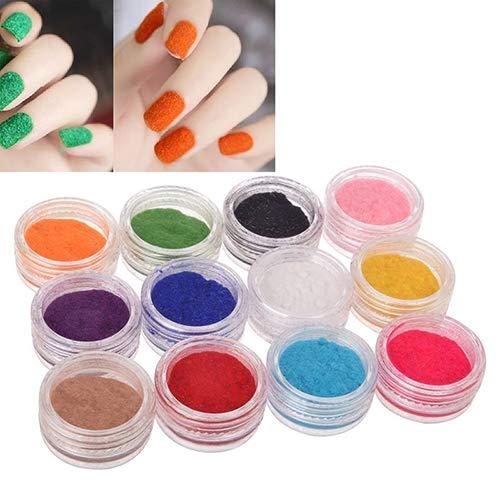 yibenwanligod 12 Farben Frauen Samt Beflockung Pulver Nail Art Nagellack Fingernagel Maniküre Werkzeug - Maniküre Magie