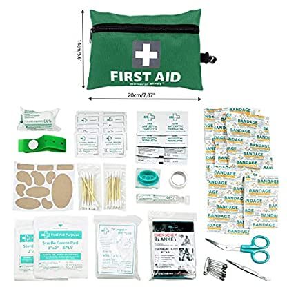 Mini First Aid Kit,92 Pieces Small First Aid Kit - Includes Emergency Foil Blanket, CPR Respirator,Scissors for Travel, Home, Office, Vehicle,Camping, Workplace & Outdoor (Green) 3