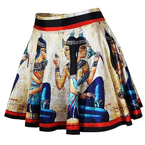 Frauen Mode Alte ägyptische Kultur Gedruckt Grundlegende Vielseitige Flackerten Röcke (Ägyptische Kleid)
