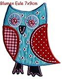 2 Aufbügler Blume Eule 8X9cm Teddy 6X9cm Set Aufnäher Flicken Applikationen zum Ausbessern von Kinder Kleidung mit Design TrickyBoo Zürich Schweiz für Deutschland und Österreich