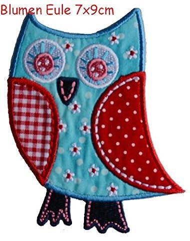 2 Ecussons patch appliques Fleur Hibou 8X9Cm Baleine 8X8Cm thermocollant brode broderie pour vetement jeans veste enfant bebe femme avec dessin TrickyBoo Zurich Suisse pour