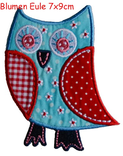 2-iron-on-patches-set-flower-owl-7x9-and-crocodile-9x3-embroidery-fabric-appliques-by-trickyboo-desi