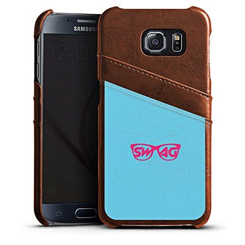 DeinDesign Samsung Galaxy S6 Lederhülle Maroon Leder Case Leder Handyhülle Brille Glasses Swag