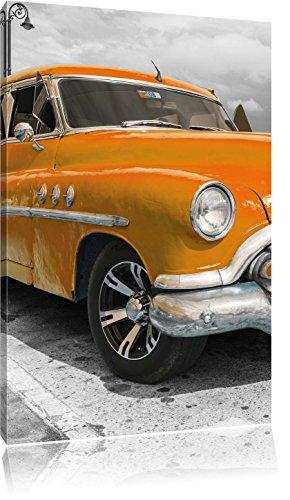 Oranger Kult Oldtimer in Havanna Kuba , Format: 80x120 auf hochkantiges Leinwand, XXL riesige Bilder fertig gerahmt mit Keilrahmen, Kunstdruck auf Wandbild mit Rahmen, günstiger als Gemälde oder Ölbild, kein Poster oder Plakat