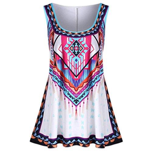 Gaddrt Fashion Womens Plus Size Colourful Summer Bohemian Print Casual Tank Tops Vest