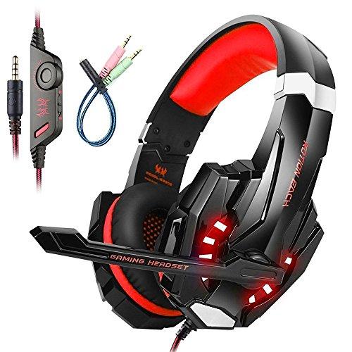 Mengshen Gaming Headset FüR PS4/Xbox One/Xbox One S/PC/Mac/Laptop/Handy - Gaming KopfhöRer Mit Mikrofon, Led-Licht, Bass Surround, Noise Cancelling, Weiche OhrenschüTzer, G9000 Red
