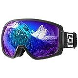 ALLROS Maschera da Sci Occhiali da Sci OTG per Ragazzo Ragazza Anti UV Anti Nebbia Compatibile con Casco per Sci Snowboard Sport Invernali