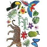 Ndier Animaux et Plantes Tropicales Creative Cartoon Stickers muraux Amovibles Stickers Animaux de Bande dessinée Papiers Peints Affiches Bricolage Art Stickers muraux - Autocollant Sticker Muraux