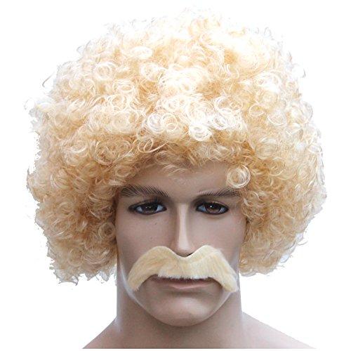 Blonde Mega Afro Perücke mit Bart Afroperücke gelockt blond Locken kurze Lockenperücke Haare (Blonde Kurze Bart)