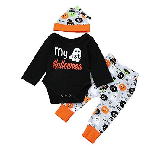 Neugeboren Kinder Outfits Kleidung URSING Halloween Baby Mädchen Jungen weich Spielanzug Overall Tops + Latzhose Sport Hose + Beanie mütze Kleider Set (0-6M, Schwarz)