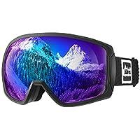 ALLROS Gafas de Esquí, Máscara Gafas ski Snowboard, OTG, Anti-Niebla y UV400, para Snowboard, esquí, Skating y Otros Deportes de Nieve- Negro (No extraíble)